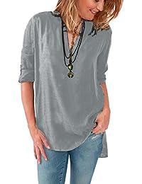 b7c8ea458f5f7 ISSHE Blusas de Vestir Manga Larga Cuello en V Blusa Gasa Fiesta Camisas  Mujer Camisetas Largas