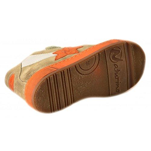 Naturino - Naturino Scarpe Bambino Tortora Grigio Ocra Pelle Velcro 2163 Tortora
