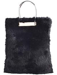 New Winter Black Fur Women Handbags Luxuy Handle Totes Bag Designer Clutch Purse Ladies Leather Bag Bolsa Feminina...