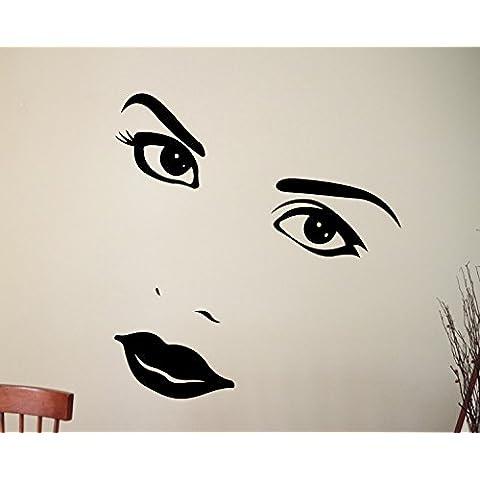 decorrooms Mujer Pegatina De Pared Cara Ojos Labios Adhesivo Make Up decoración de casa belleza interior dormitorio dormitorio pared arte