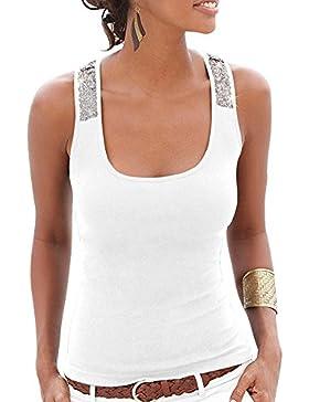 DianShao Mujeres Lentejuelas Sin Mangas Color Sólido Camisas Chaleco La Del Camisetas Blanco M
