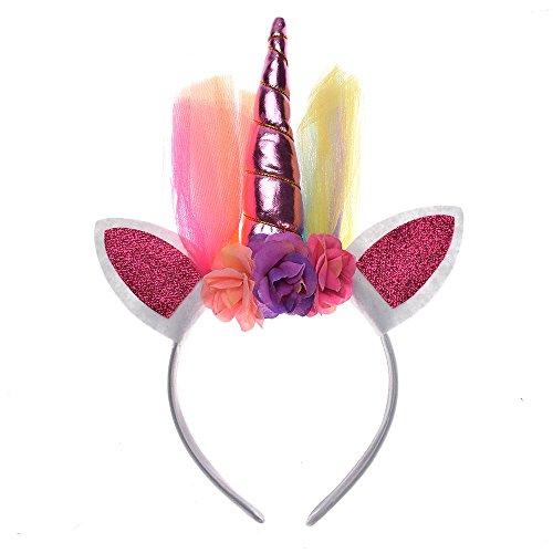 Kostüm Bun Maker - MAXGOODS Schöne Elastische Blumenspitze Einhorn Horn Kopfschmuck Mädchen Dekorative Stirnbänder Party Dekoration Halloween Kostüm