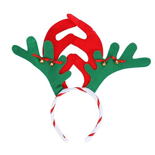 Tinksky Rentier Geweih Haarband, Weihnachten Kinder Stirnband Kopfbedeckung Kopf Boppers Haarschließe Kopfschmuck für Kinder Weihnachten Kostüm Party Favor (rot grün)