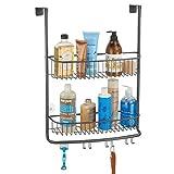 mDesign Duschkorb zum Hängen über die Duschtür – stilvolle Duschablage ohne Bohren – Duschregal aus Metall mit zwei Ebenen und vier Doppelhaken für allerlei Duschzubehör – grau