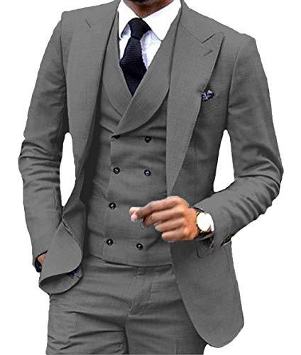 Herren Anzug 3 Stücke Zweireiher Weste Formale Business Notch LAPE Smoking Für Hochzeit(Blazer + Weste + Hose)(40S,Grau)