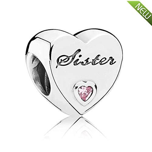 Sister's love, charm in argento sterling 925 con zirconi cubici rosa, adatto per braccialetti pandora e gioielleria fai da te