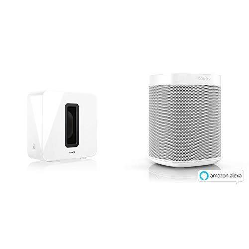 Sonos Sub, weiß – Leistungsstarker WLAN Subwoofer für dynamische & tiefe Bässe für alle Sonos Speaker &  One Smart Speaker, weiß – Intelligenter WLAN Lautsprecher & AirPlay – Multiroom Speaker