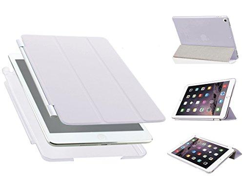 Luch iPad Mini 1/2 / 3 Hülle, Ultradünn Smart Cover Kunstleder Schutzhülle Tasche + Transparent Matt Back Hardcase mit Multiständer Schlaf/Wach Funktion für iPad Mini 3 2 1, Weiß