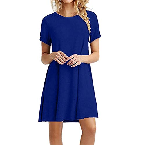 Damen T-Shirt Kleid/Dorical Frauen Mädchen Sommer Knielänge Rundhals Swing Lose Kleid/Casual Langes Shirt Tunika Kurzarm Solid T-Shirtkleid Tops Longshirt 7 Farben S-XXL 80% (Blau,L2)