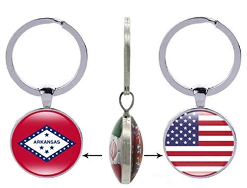 AccessCube Schlüsselanhänger aus Glas mit USA-Flagge, Cabochon, doppelseitig, mit Glas-Schlüsselanhänger, USA