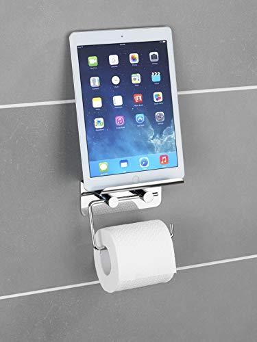 WENKO 21809100 Toilettenpapierhalter mit Smartphone-Ablage, Edelstahl rostfrei, 14 x 11.5 x 7 cm, Glänzend