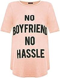 Baleza Women Ladies Celebrity No Boy Friend No Hassle Printed Top T-Shirt Sz 8-14
