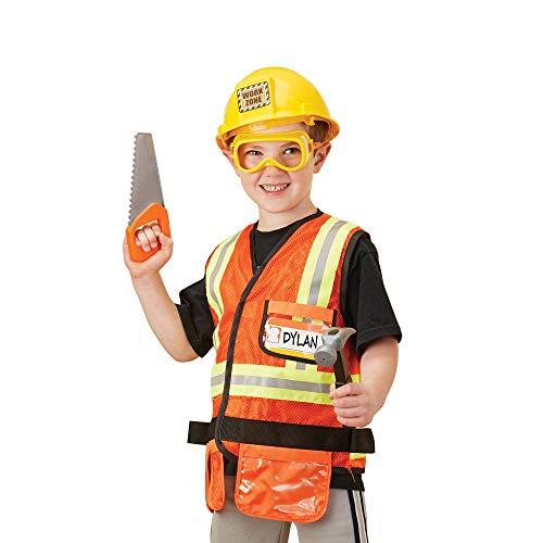 Melissa & Doug 4837 Construction Worker Role Play Costume Set, Multi Color