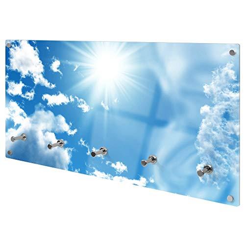 banjado Wandgarderobe aus Echtglas | Design Garderobe 80x40x6cm groß | Paneel mit 5 Haken | Flurgarderobe für Jacken und Mäntel | Garderobenleiste mit Motiv Clouds