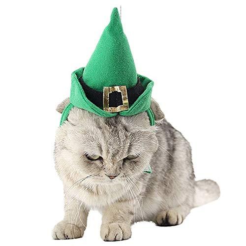 NACOCO Katzenmütze mit Halsband für Hunde und Katzen, Weihnachts-Kostüm, Halskette, für Katzen und kleine Hunde, Saint Patrick Grün, 2 Stück