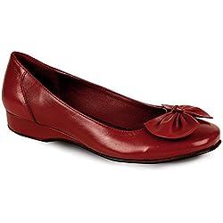 Sapphire - Damen Keilabsatz Leder Ballerina Pumps - Leder, 3 UK / 36 EU, Rot