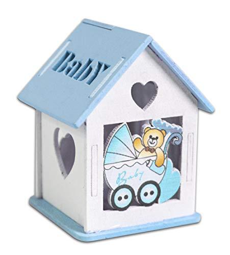 Vetrineinrete® scatoline portaconfetti 36 pezzi forma di casetta con tetto apribile per confetti per scatole con incisione cuore bomboniere segnaposto in legno per nascita battesimo (celeste)
