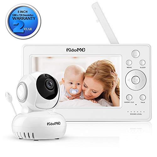 """KidoMe 1280 x 720P Vigilabebé Vídeo Inalambrico Cámara Vigilancia con Pantalla Digital LCD a Color de 5"""" Bebé Monitor Inteligente Audio Bidireccional Alarma Canciones de Cuna Visión Nocturna"""