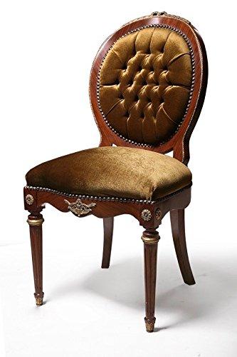 LouisXV Barock Stuhl Rokoko Antik Stil Holz lasiert Brauner Samt/Velour Stoff Antik Stil Massivholz....
