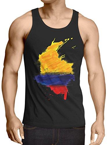 CottonCloud Flagge Kolumbien Herren Tank Top Fußball Sport Colombia WM EM Fahne, Größe:M, Farbe:Schwarz