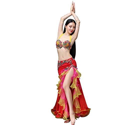 YTS Bauchtanz-Kostüm-reizvoller weiblicher Erwachsener Anzug-Winter, Spitze-BH-Tanz-Kleidung (Farbe : Red, größe : M) (Rock Spitze Schleier Tanz Kostüm)