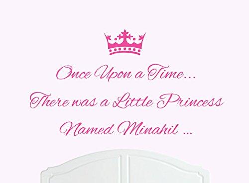 ONCE UPON A TIME THERE WAS A LITTLE PRINCESS LLAMADO MINAHIL GRANDE ADHESIVO DECORATIVO PARA PARED/DE VINILO CAMA HABITACION ARTE CHICA/BEBE