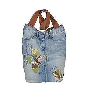 Jeans Damen Tasche, Handgemachte Jeans Schultertasche, Lässige einzigartige Handtasche, Tote Bag Tasche aus Denim, Jeans Tasche mit Schmetterling, Recycelte Jeans tägliche Schultertasche