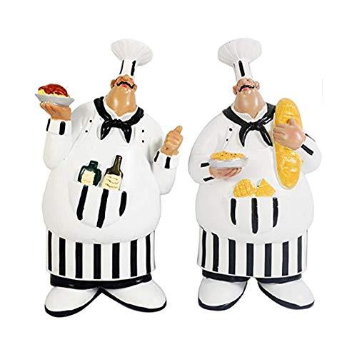 Lemonadeus Set von 2 italienischen Küchen-Figuren, Küchendekoration, Bezauberndes Kochen Fat Chef, Wandkunst zum Aufhängen Fat-chef