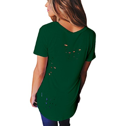 Cooshional Damen T Shirt Sexy Tops Sommer Locker Oberteile Lang V Ausschnitt Dunkelgrün