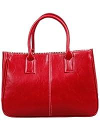 Bundle Monster Womens PU Faux Leather Lady Tote Shoulder Handbag Purse Bag - RED