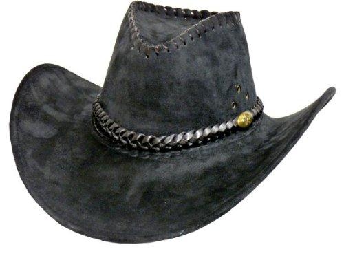 Trendmaus.de Cowboyhut schwarz Westernhut Texashut Country Hut Cowgirl JGA Fasching - Umfang: 57 cm, für Jugendliche & Erwachsene - edles Design mit Muster 32 Alsino