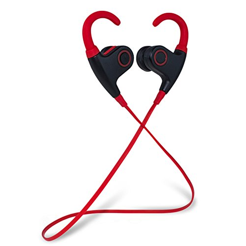 Meilunz MG-2 Sport Bluetooth Ohrhörer Kopfhörer Headphone Headset apt-X CSR v 4.1 In Ear mit Mikrofon für iPhone 6 6S 6 Plus 6S Plus 5S 5 5C 4S 4, Samsung Galaxy S6 S6 Edge S5 S4 Mini (Schwarz + Rot)