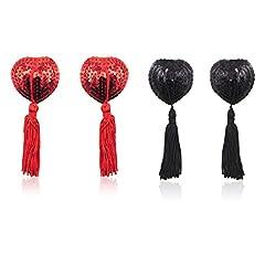 Idea Regalo - Copricapezzoli in silicone, Domowin Donna Cuore scintillante Riutilizzabile Nipple Cover Una coppia di Pasties A forma di cuore 2 Coppia (Rosso&Nero)