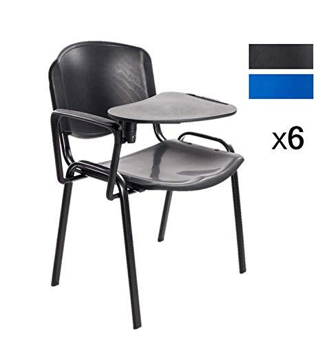 Stock Sedie Impilabili.Notek Srl Stock Di 6 Sedie Impilabili In Plastica Dura Con Ribaltina Scrittoio Per Sala Conferenze E Aula Formazione Nero