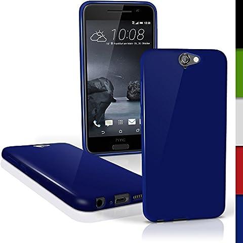 igadgitz Solido Blu Lucido Protettiva Custodia Gel TPU per HTC One A9 (2015) Case Cover + Pellicola