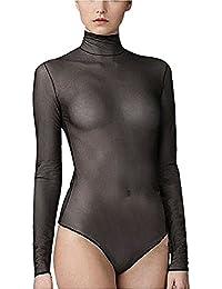 YiZYiF Transparent Damen Rollkragen Bodysuit Einteiliger Reizwäsche Langarm Body S M L XL