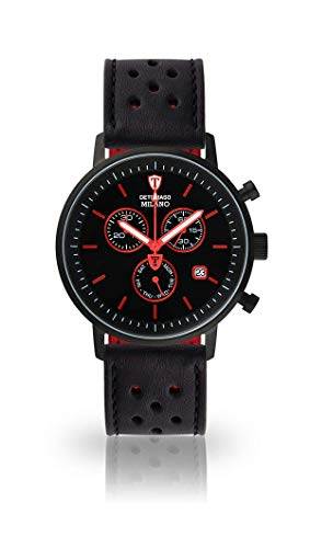 DETOMASO Milano Mens Watch Chronograph Analog Quartz Black Racing Leather Strap Black Dial DT1052-M-840