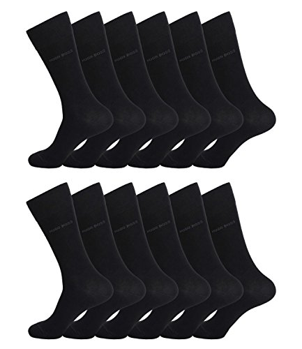 HUGO BOSS Herren Socken Strümpfe Business Allround RS SP 50274157 12 Paar, Farbe:Schwarz;Sockengröße:39-42;Artikel:-001 black