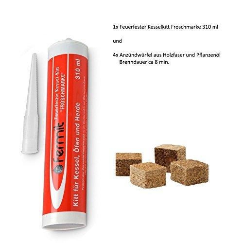 feuerfester kessel-kitt froschmarke Temperaturbeständigkeit: über +1000°C und 4x Anzündwürfel aus Holzfaser und Pflanzenöl ca. 8 min Brennzeit (Feuerfester Kesselkitt 310 ml Kartusche)