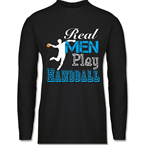 Shirtracer Handball - Real Men Play Handball - Herren Langarmshirt Schwarz