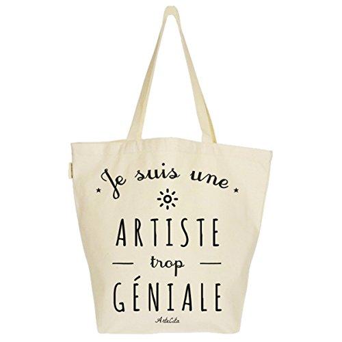 Grand Sac Cabas Fourre-tout Imprimé Toile Bio 37x45x20cm Tote Bag XL - Je suis une Artiste trop géniale