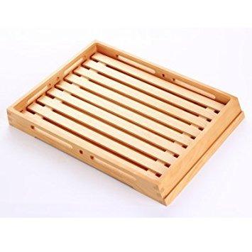 Plateau de service en bois naturel Couleur bois Planche à Pain Plat à Gâteaux cuisson Store Présentoir à café/thé plateaux