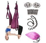 JIALFA Aerial Yoga Hängematten,Ultra Starke Antigravity Yoga Schaukel,Luft Trapez Kit - Inversionsübungen, Verbesserte Flexibilität & Kernfestigkeit - Montagezubehör Inklusive (Dunkelviolett)