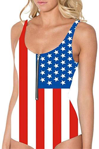 BOLAWOO-77 Gedruckter Schwimmen Klage Für Frauen Bikini Push Up Amerikanische Flagge Blau Roter Badeanzug Sommer Tunika Bademode Strand Mode Monokini Swimsuit (Color : Colour, Size : M)