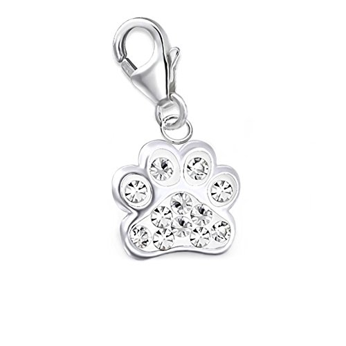 GH1a Kinder Kristall Pfötchen Pfote Charm Anhänger 925 Sterling Silber - Baby Girl Sterling Charm Silber