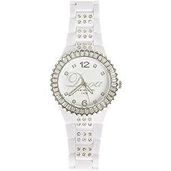 Dooa Time 0R06DW Women's Quartz Watch with Rhinestones, White/Silver, One Size
