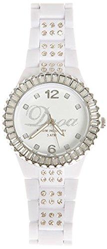 Preisvergleich Produktbild Dooa Time OR06DW Damen Quarzuhr mit Strass, Einheitsgröße, Weiß/silberfarben