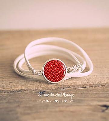Bracelet double tour simili cuir blanc, Cabochon Fraise des bois, Rouge, Fruits