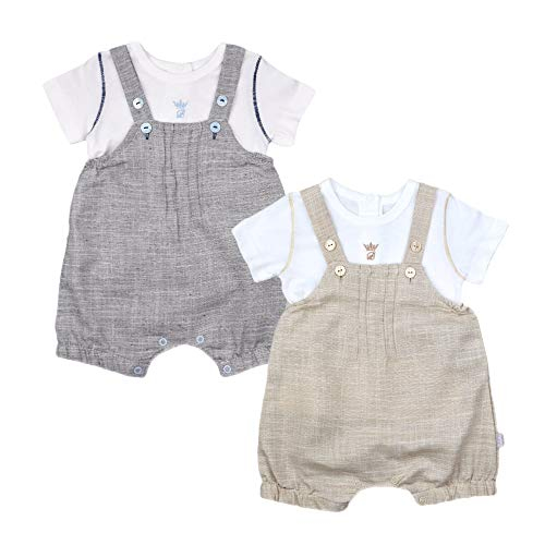 Baby Kurze Latzhose LATZSHORTS MÄDCHEN Jungen Shirt BEIGE GRAU Set Sommer Outfit Shorts TOP NEUGEBOREN (62, beige (O 1036))