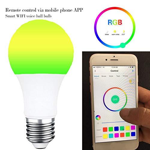 7W Smart LED WiFi Glühbirne Fernbedienung Dimmbare Lampe für Google Home Echo E27 B22 E26